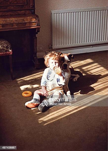 Toddler & Boxer dog sitting in reflected sunshine