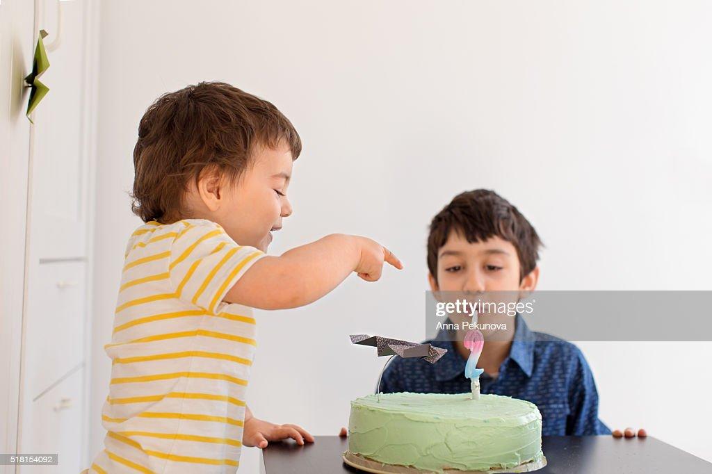 Toddler Boy Celebrating 2nd Birthday Stock Foto