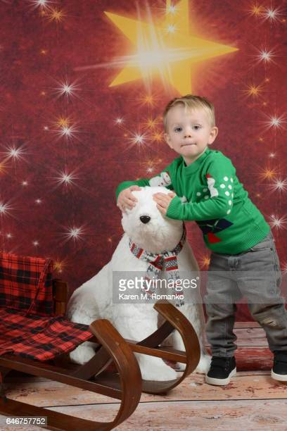 Toddler boy (2 yrs) in Xmas sweater with hands over plush polar bear's eyes; wooden sled in foreground