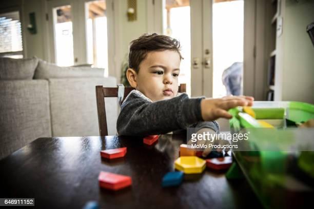 Toddler boy (2 yrs) playing with blocks