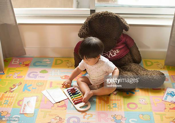 Toddler boy reading a book with teddy bear.