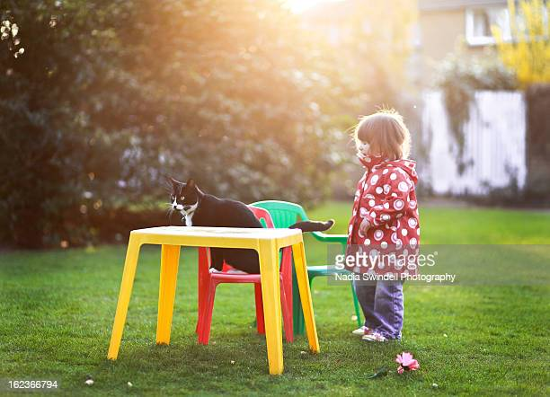 toddler & cat - weybridge stock photos and pictures