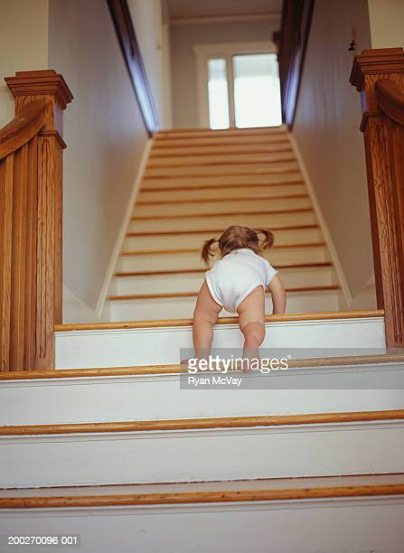 toddler (18-21 months) climbing up stairs, low angle view - 18 23 meses fotografías e imágenes de stock