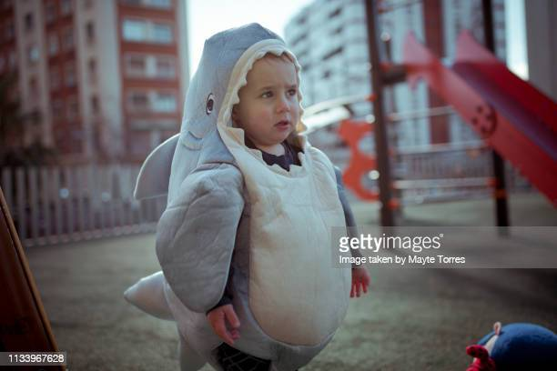 toddler dressed as a shark in the playground - fish love stock pictures, royalty-free photos & images