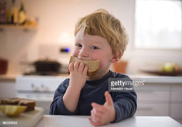 toddler eats sandwich