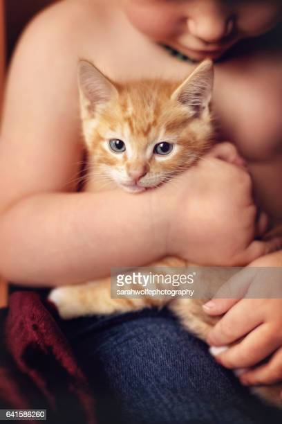Toddler gently holding orange kitten in his lap