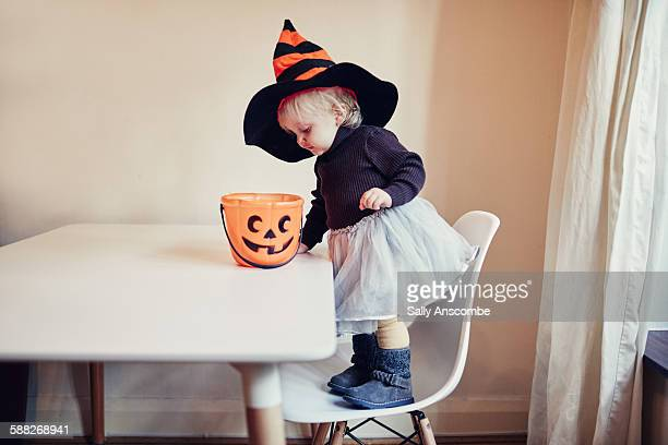 Toddler girl dress as a witch