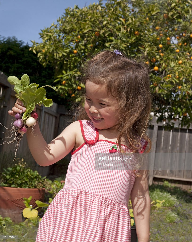 Toddler Girl In Vegetable Garden Stock Photo | Getty Images