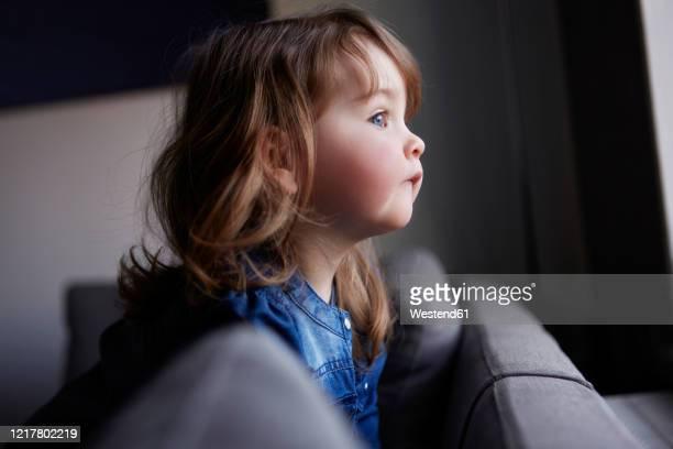 toddler girl looking out of window - curiosità foto e immagini stock