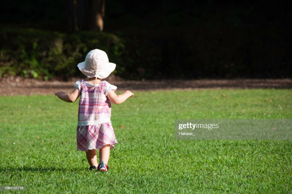 Toddler girl playing in the park : Stock Photo