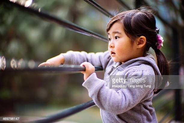 Toddler girl pointing to something in park
