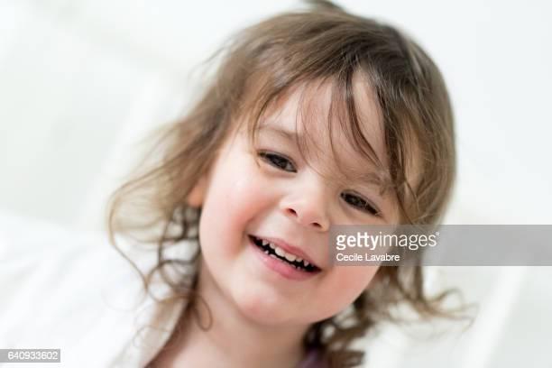 Toddler girl waking up