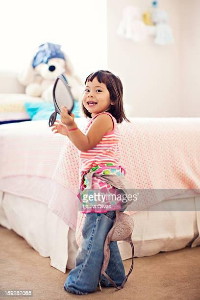 Toddler Girl Wearing Mom's Bra
