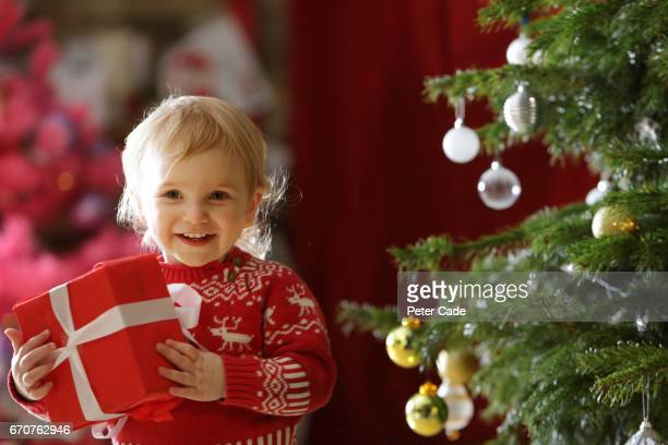 Toddler girl with Christmas tree