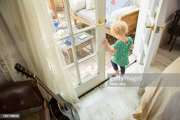 Toddler going onto verandah