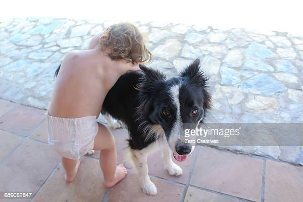 toddler hugging pet dog - bent over babes stock pictures, royalty-free photos & images