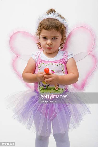 Toddler in a fairy costume for Halloween.