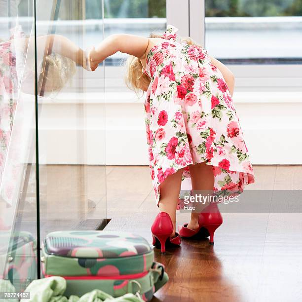 toddler in high heels - big bums stock photos and pictures