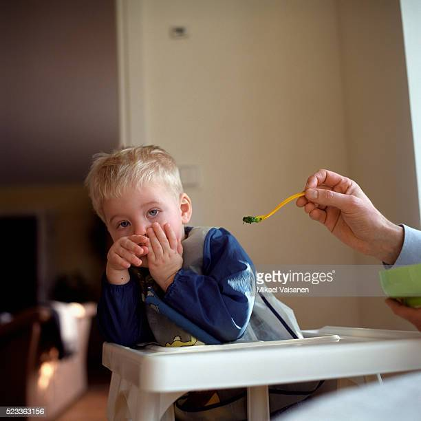 Toddler in Highchair Refusing to Eat