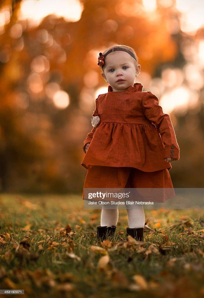 Toddler in Orange Dress : Stock Photo