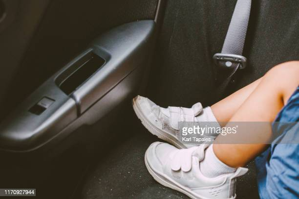 a toddler is sleeping in the car - temperature stock pictures, royalty-free photos & images