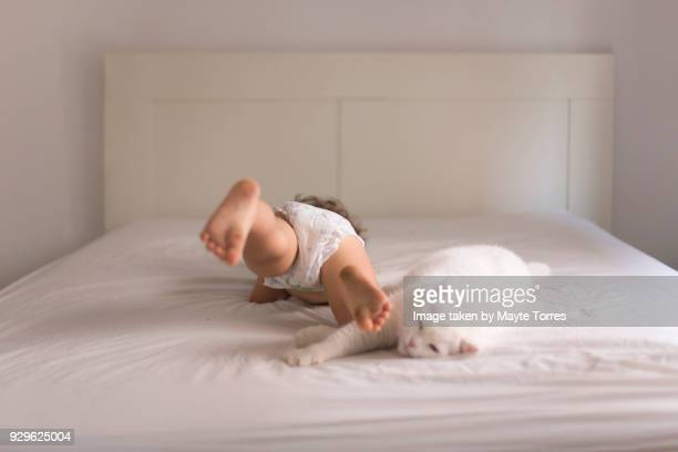 Toddler laying in bed with cat