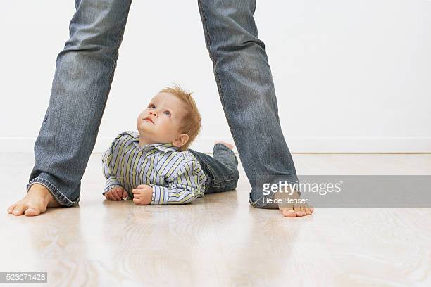 Toddler lying on stomach