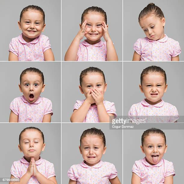 toddler making different face expressions - one girl only stock pictures, royalty-free photos & images