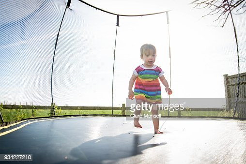 Toddler on the trampoline