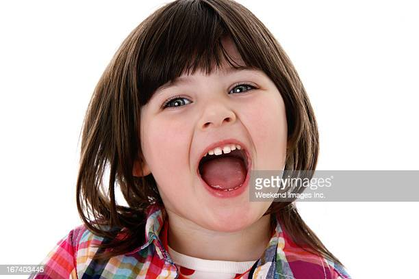 toddler - girls open mouth stockfoto's en -beelden