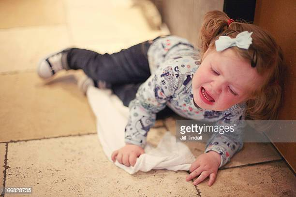 Toddler tantrum on floor