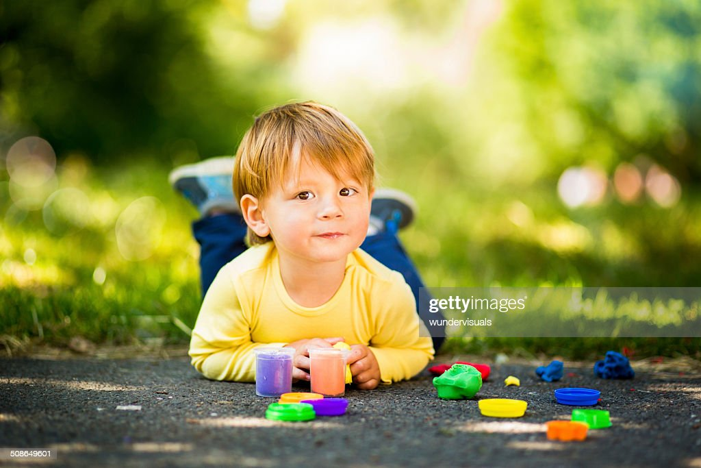 Toddler With Play Dough : Stock Photo