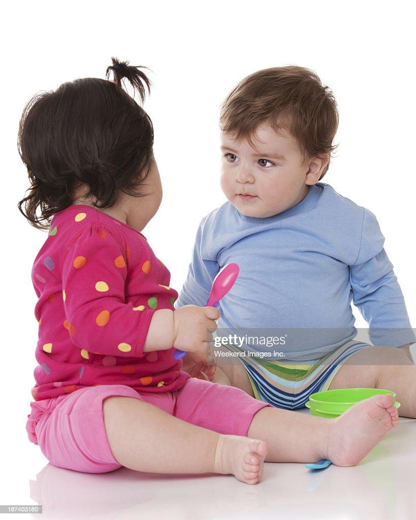 Toddler's talk : Stock Photo