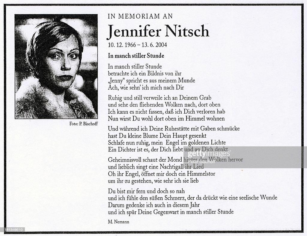 Fabulous Todesanzeige und Gedicht zum 3. Todestag von Schauspielerin Jenn  &MC03