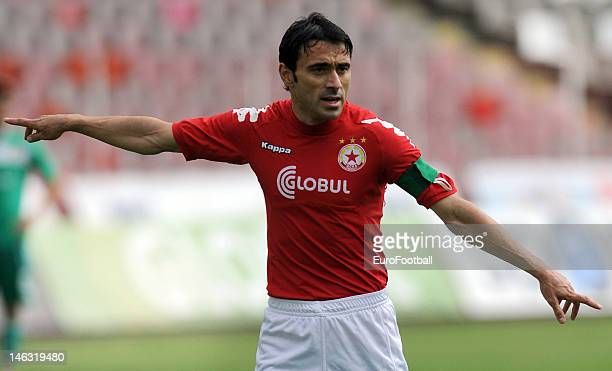 Todor Yanchev of PFC CSKA Sofia in action during the Bulgarian A PFG League match between PFC CSKA Sofia and PFC Litex Lovech held on May 19, 2012 at...