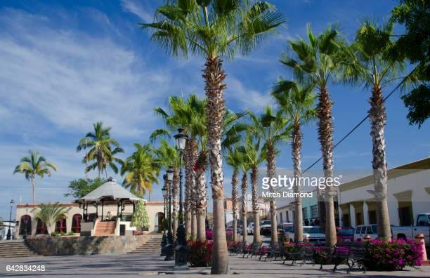 todos santos town square - halbinsel niederkalifornien stock-fotos und bilder