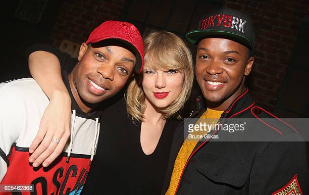Todrick Hal l Taylor Swift and Harrison Ghee pose backstage at the hit musical Kinky Boots on Broadway at The Al Hirschfeld Theater on November 23...