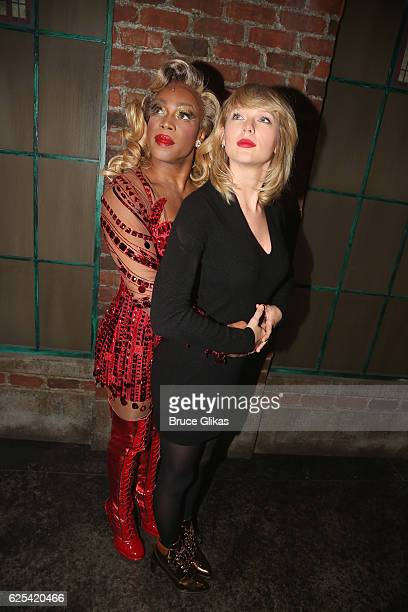 Todrick Hall as Lola and Taylor Swift pose backstage at the musical Kinky Boots on Broadway at The Al Hirschfeld Theater on November 23 2016 in New...