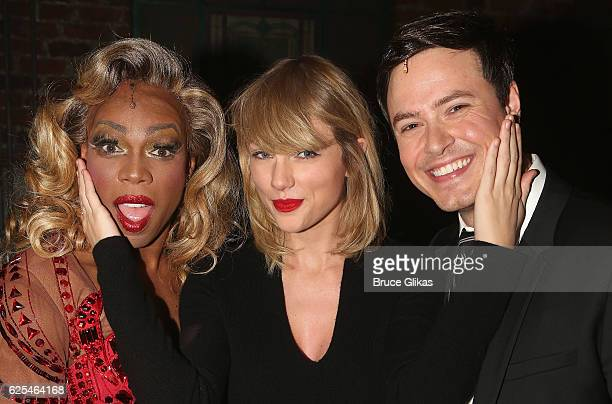 Todrick Hall as Lola Taylor Swift and Aaron C Finley as Charlie pose backstage at the hit musical Kinky Boots on Broadway at The Al Hirschfeld...
