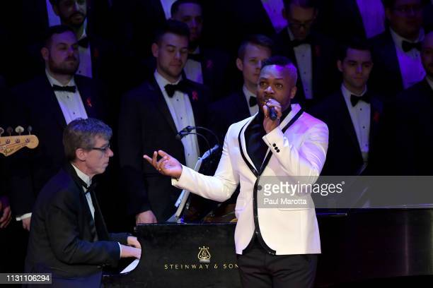Todrick Hall performs with members of the Boston Gay Men's Chorus in a program titled 'Raise You Up' at Jordan Hall at New England Conservatory on...