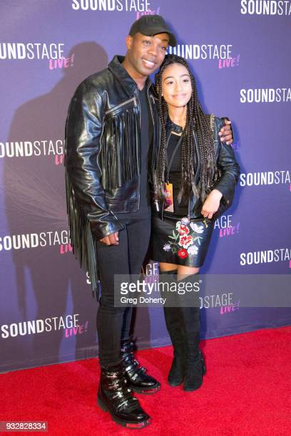 Todrick Hall poses for a picture with Lexi Underwood at the New Interactive Live Stage Show Of Disney's The Little Mermaid at the El Segundo...