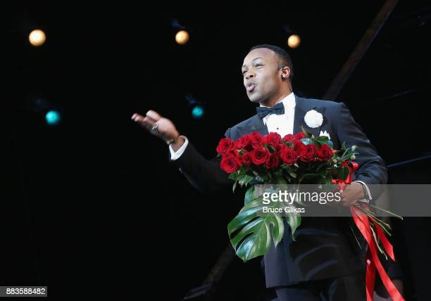 Todrick Hall takes his first bow as Billy Flynn in the long running hit musical Chicago on Broadway at The Ambassador Theatre on November 30 2017 in...