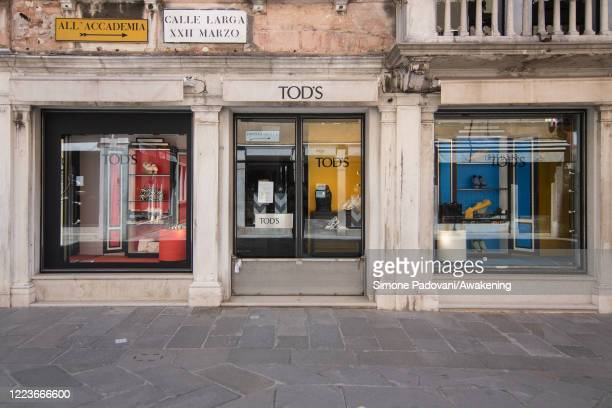 Tod's luxury fashion store is closed due to the restrictions still in progress for some types of commercial activities on May 08, 2020 in Venice,...