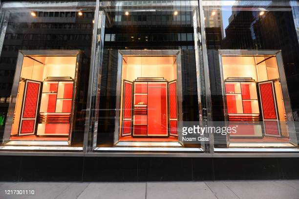 Tod's store in Madison Avenue sits empty after all merchandise is removed from view during the coronavirus pandemic on April 6, 2020 in New York...