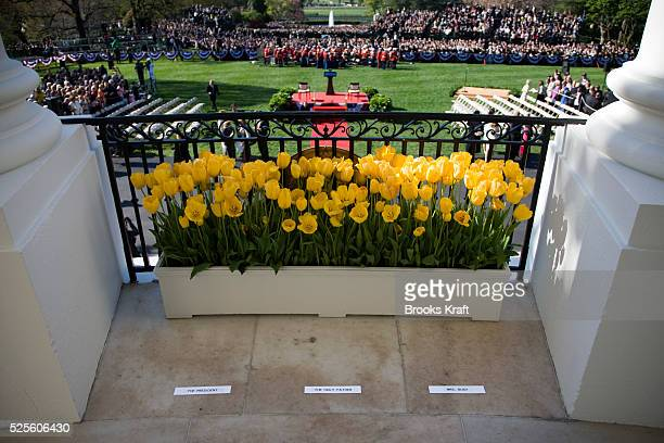 Toe marks on the White House balcony for U.S. President George W. Bush, Pope Benedict XVI and first lady Laura Bush at a welcome ceremony for the...