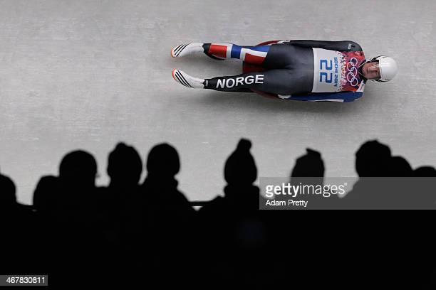 Toennes Stang Rolfsen of Norway makes a run during the Luge Men's Singles on Day 1 of the Sochi 2014 Winter Olympics at the Sliding Center Sanki on...