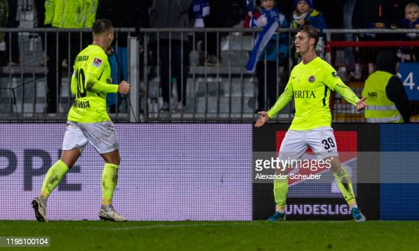 Toerles Knoell of Wiesbaden celebrates the first goal for his team during the Second Bundesliga match between Karlsruher SC and SV Wehen Wiesbaden at...