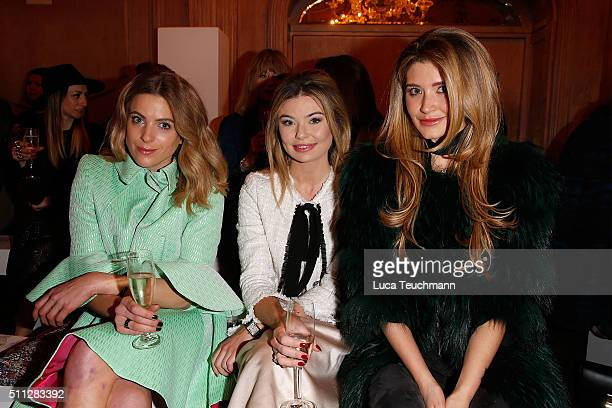 Toff Lauren Hutton and guest attend the Paul Costelloe presentation during London Fashion Week Autumn/Winter 2016/17 at Le Meridian Piccadilly on...