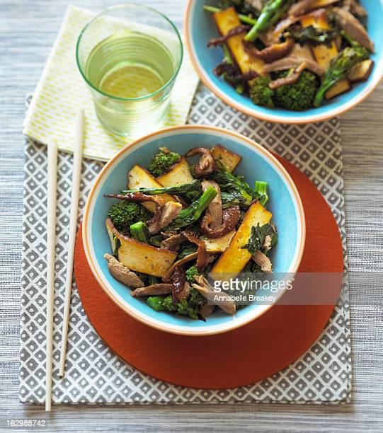 tofu and duck stir fry - stir fried stock pictures, royalty-free photos & images