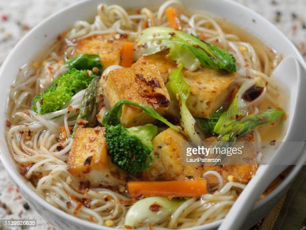 tofu and vegetable pho - miso sauce stock pictures, royalty-free photos & images
